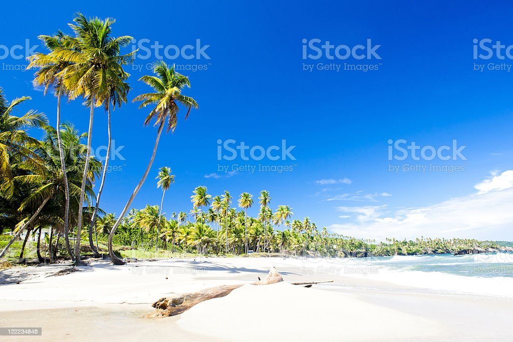 Beach view of empty Cumana Bay on picture perfect day stock photo