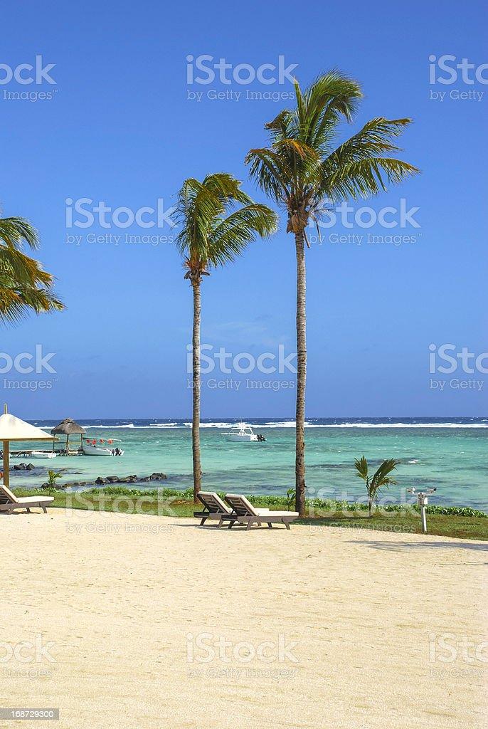 Beach View of Mauritius Resort royalty-free stock photo