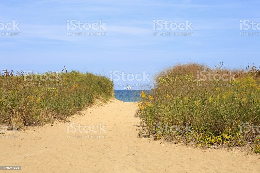 Beach view of ocean with brigg stock photo