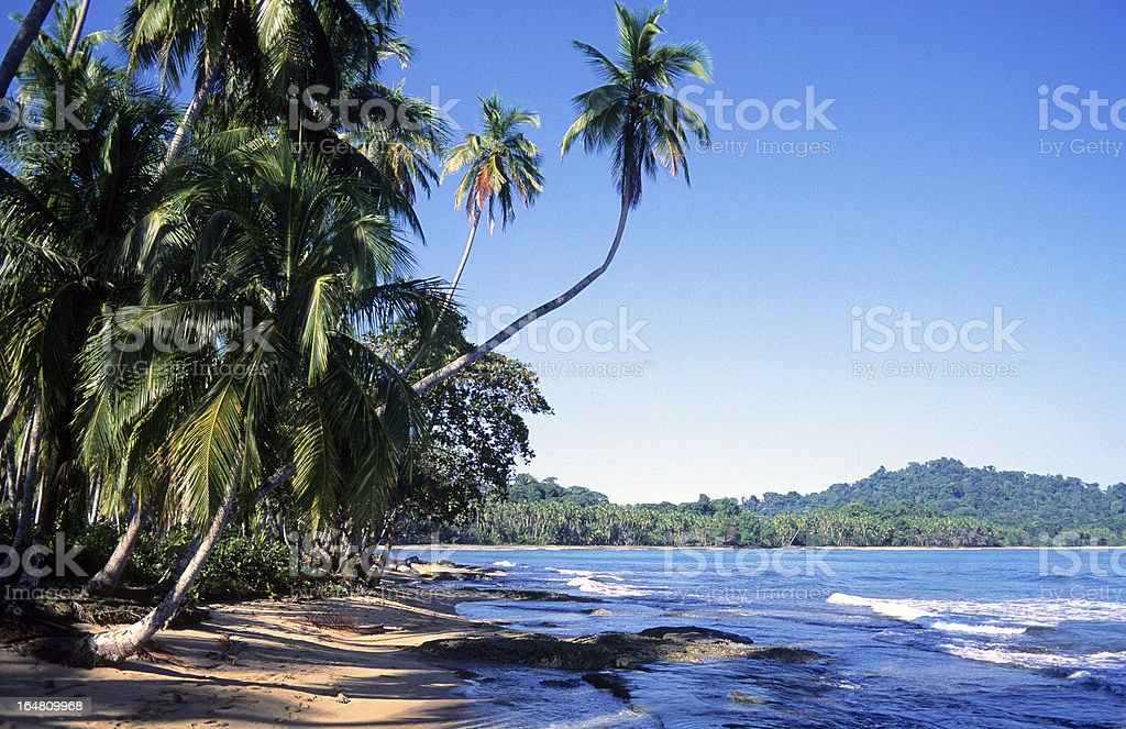 A beach view of Playa Chiquita in Limon Province, Costa Rica stock photo