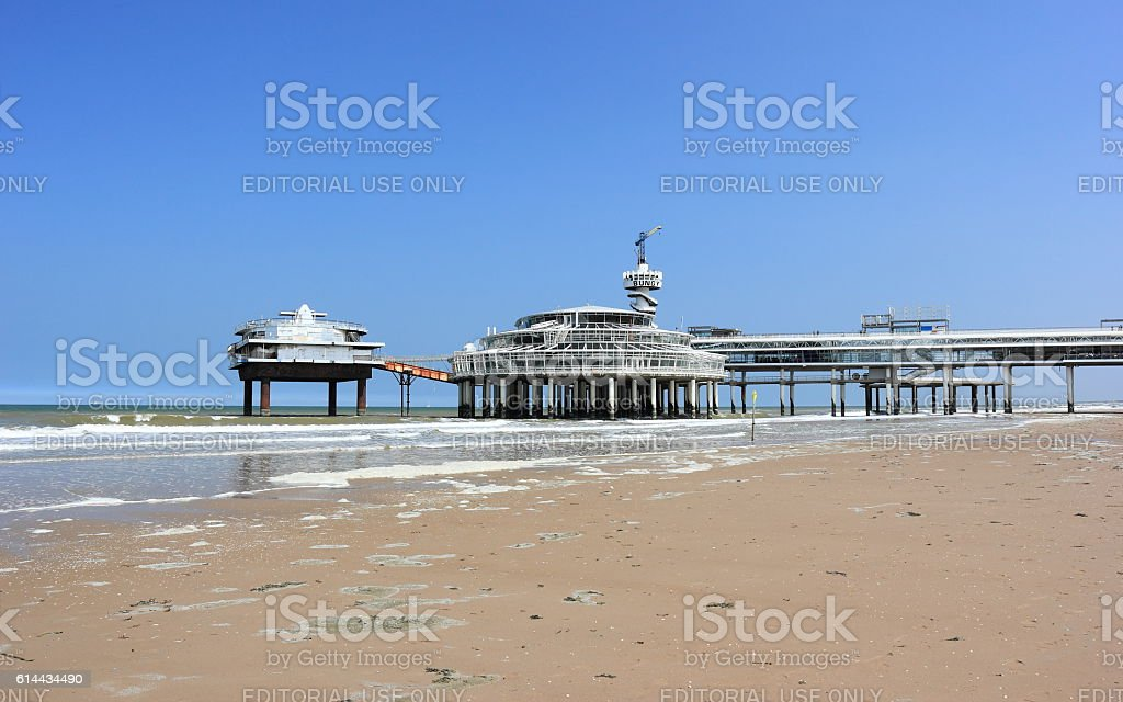 Beach view on the Pier of Scheveningen. The Netherlands. stock photo