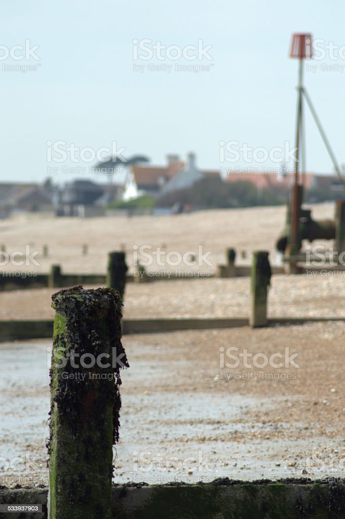 Beach View with Post stock photo