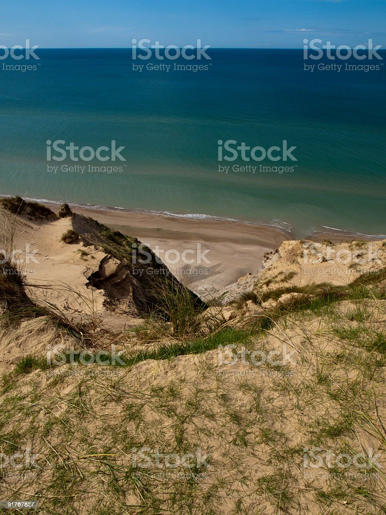 Beach viewed from high up stock photo