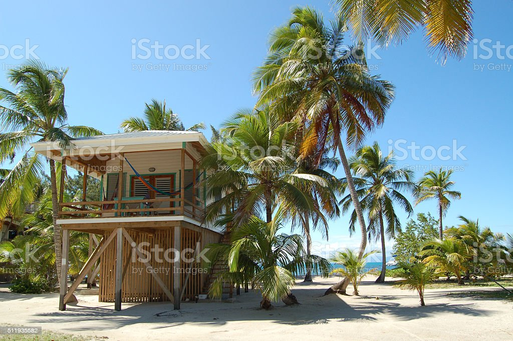 Beach Villa on Remote Tropical Island stock photo
