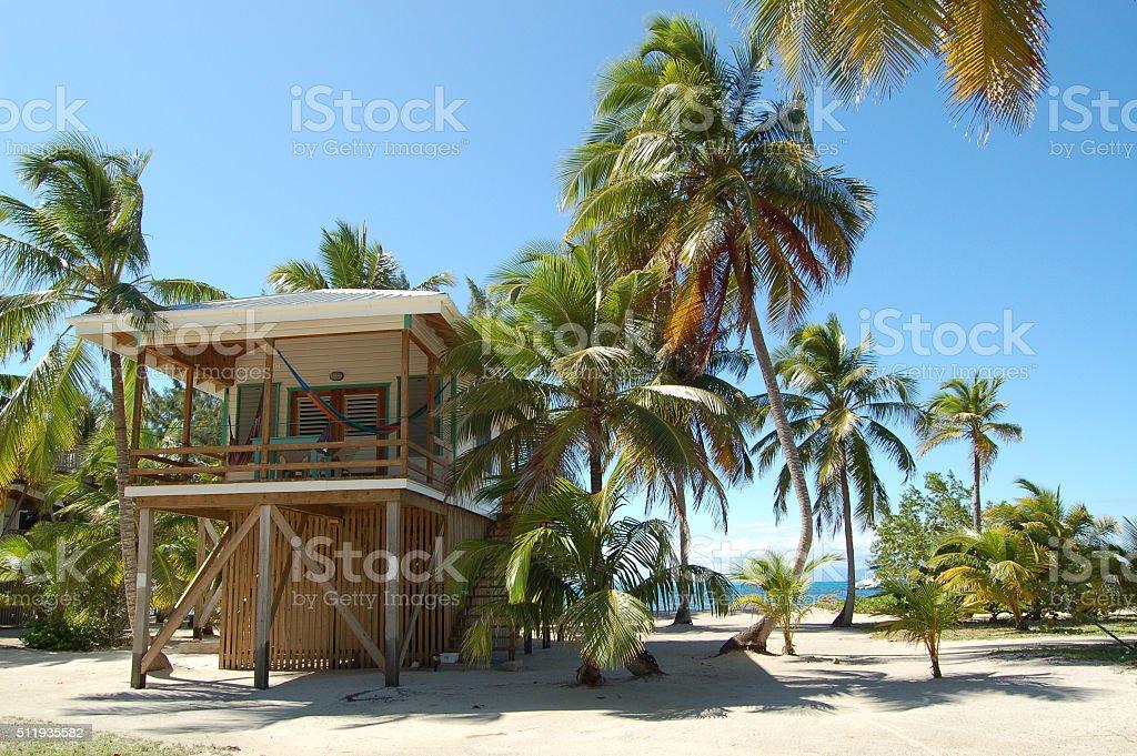 Beach Villa on Remote Tropical Island stock photo