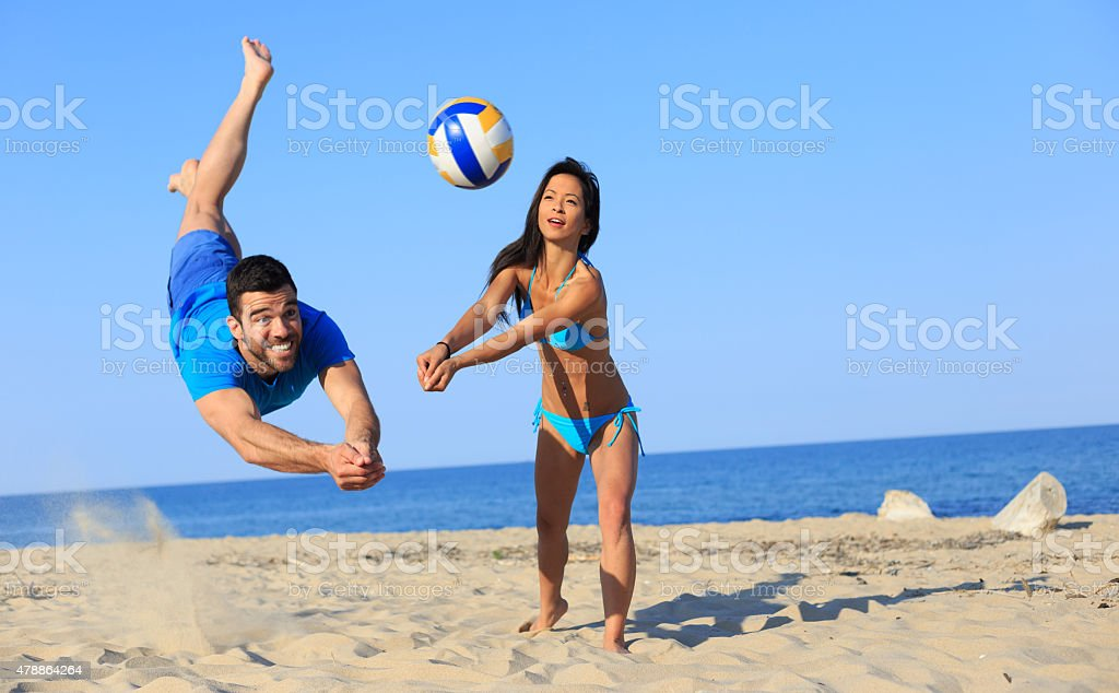 Beach volley action stock photo