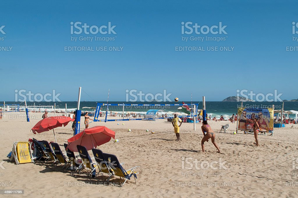 Beach volley lesson in Ipanema royalty-free stock photo