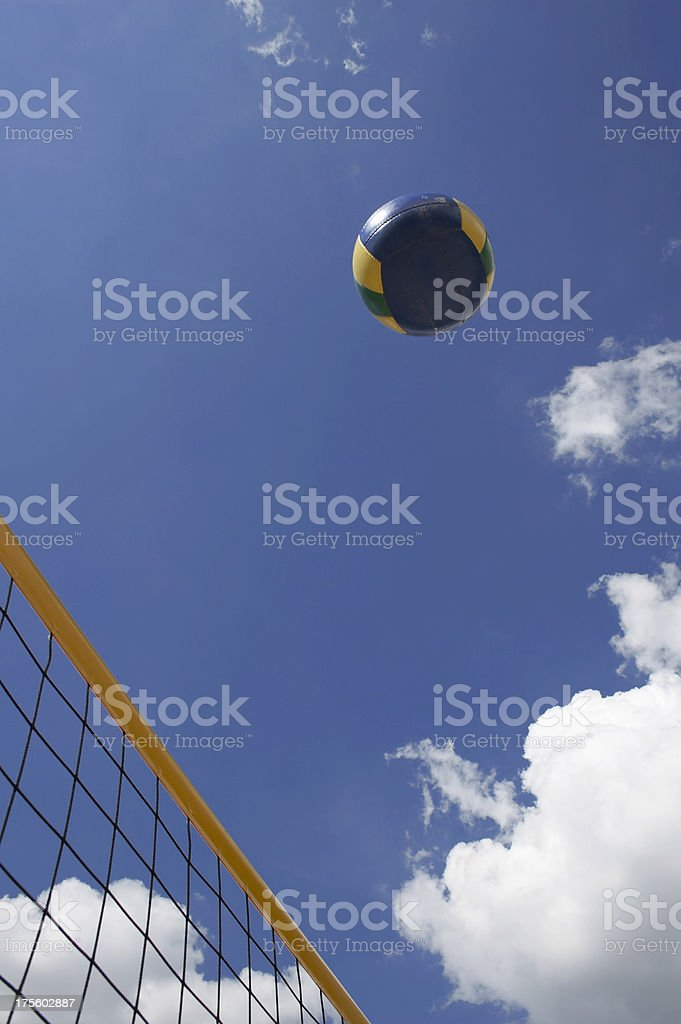 Beach volley net with ball royalty-free stock photo