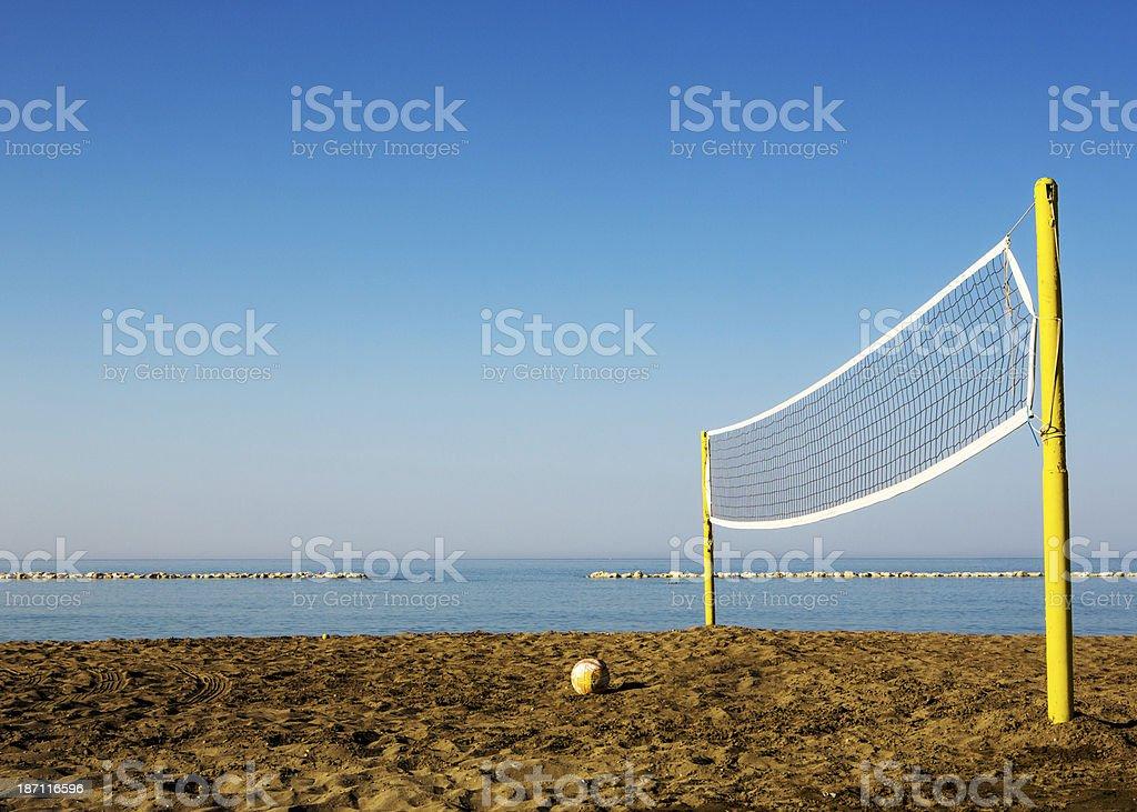 Beach volleyball court stock photo