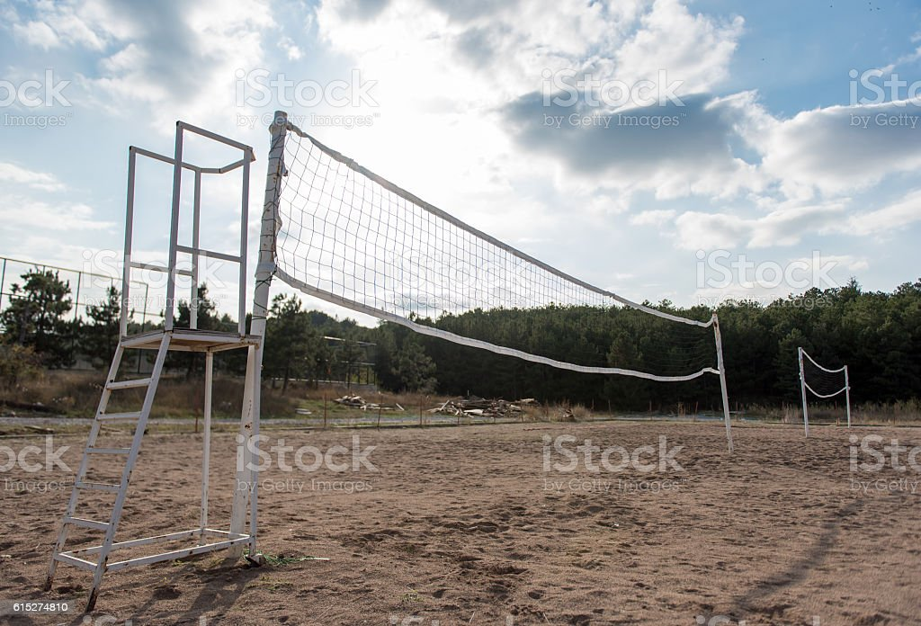 beach volleyball field and cloudscape stock photo