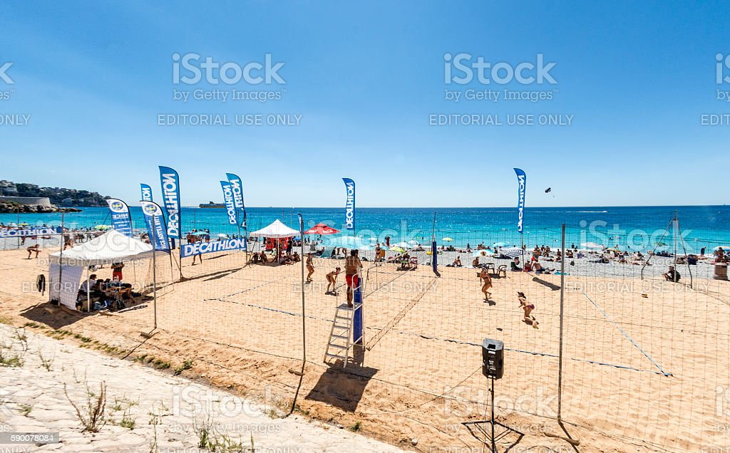 Beach volleyball in Nice, France stock photo
