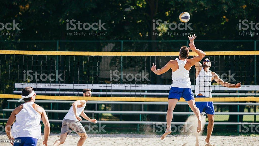 Beach Volleyball Men Action stock photo