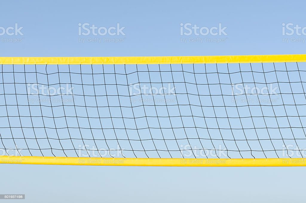 beach volleyball net on sky stock photo