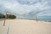 Beach Volleyball net on the beach with blue sky