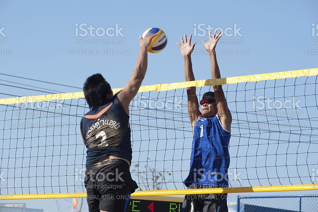 Beach volleyball of 40th.Thailand University Games. stock photo