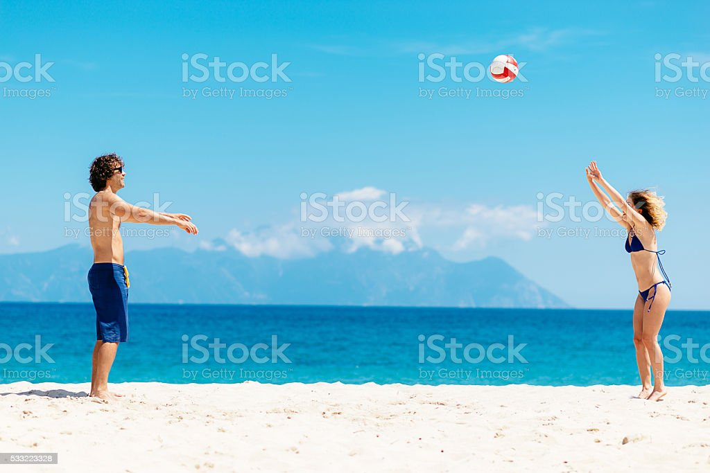 Beach volleyball with friends on Greek islands stock photo