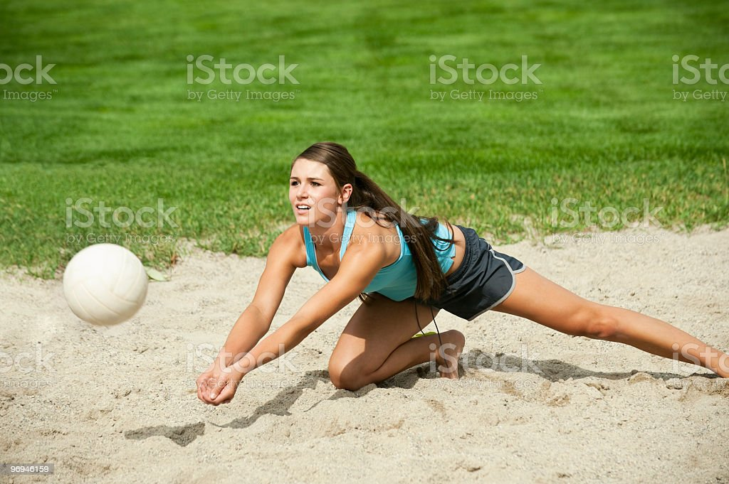 Beach Volleyball - Young Woman stock photo