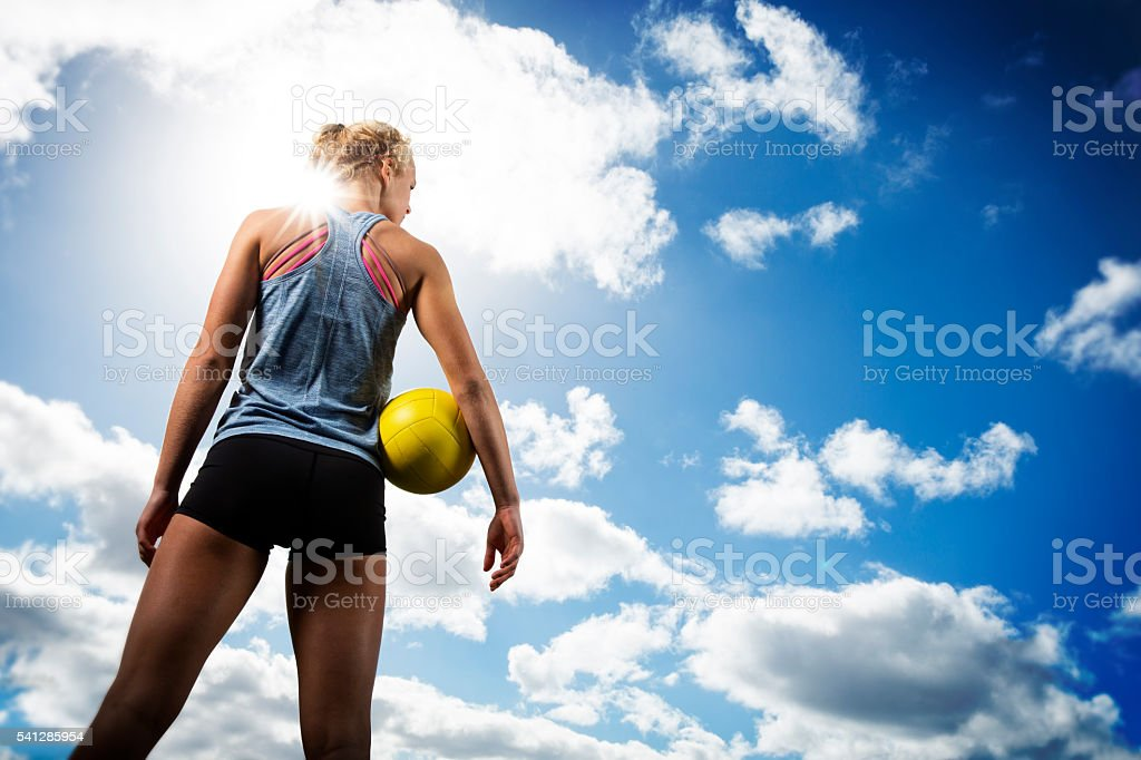Beach Volleytball Girl Looking off stock photo