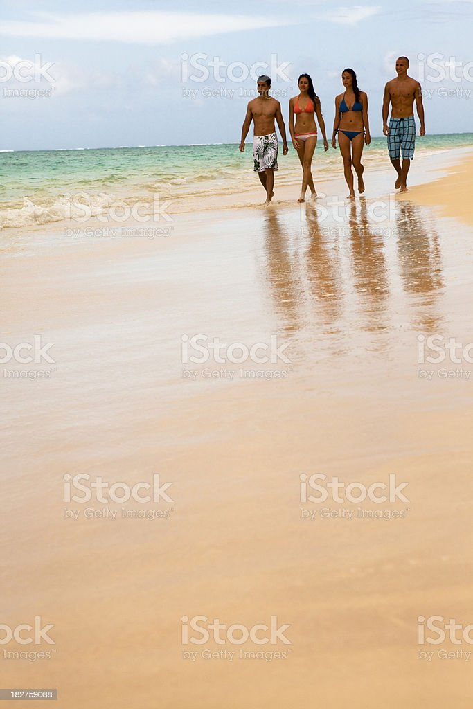 Beach Walk with Friends royalty-free stock photo