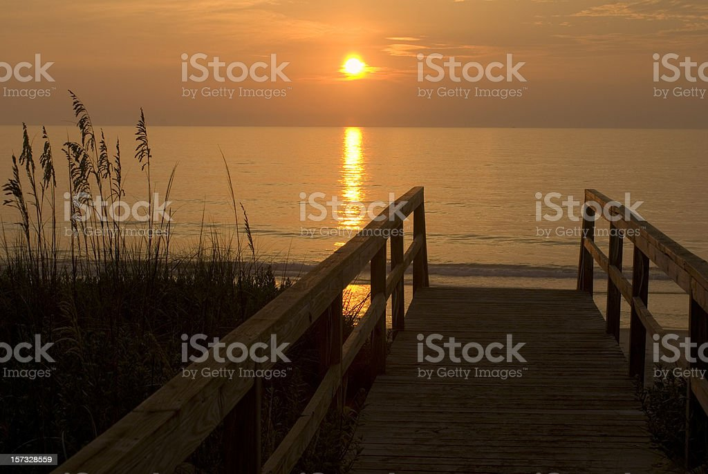 Beach Walkway At Sunrise With Sea Oats royalty-free stock photo