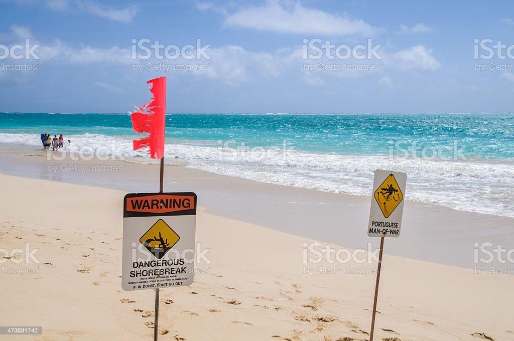 Beach Warning Signs stock photo
