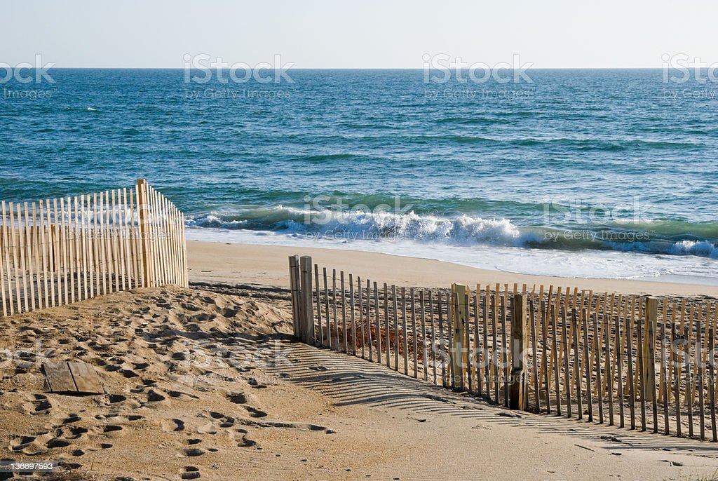 Beach Waves Breaking in Morning Light stock photo