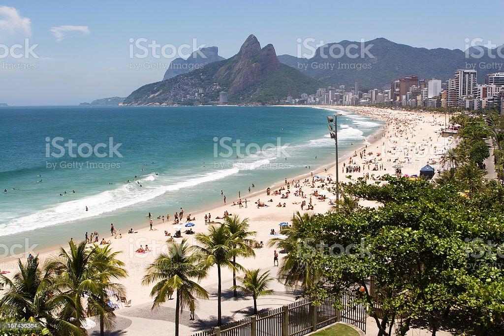 Beach waves on ipanema beach in Rio de Janeiro  stock photo
