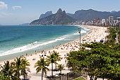 Beach waves on ipanema beach in Rio de Janeiro