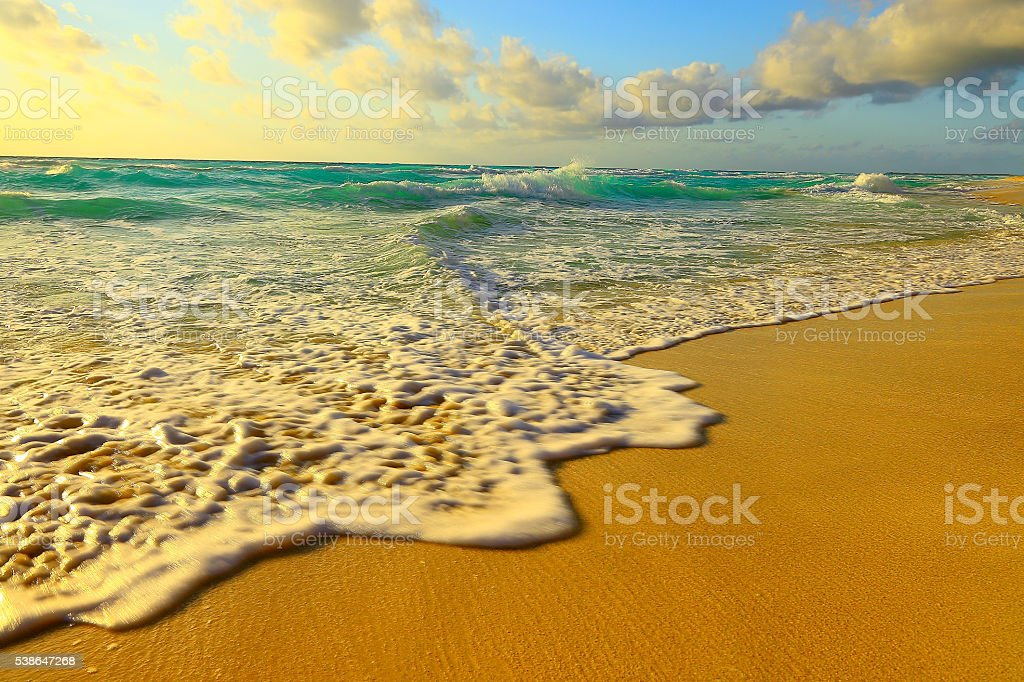 beach waves, riviera sunset landscape - Cancun, caribbean tropical paradise stock photo