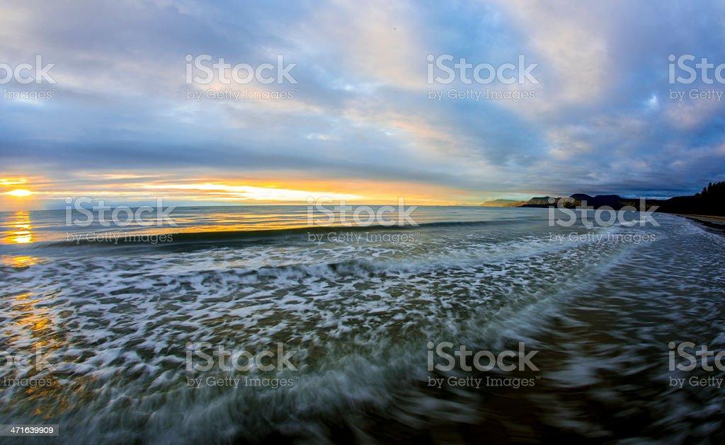 Beach waves sunrise royalty-free stock photo