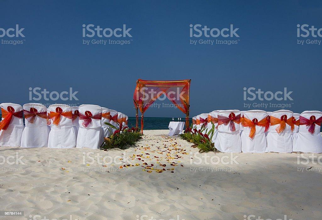 Beach Wedding Ceremony Setup royalty-free stock photo