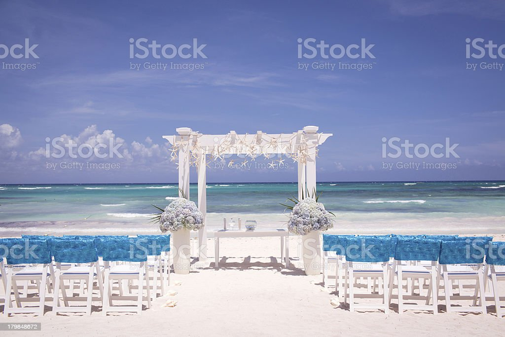 Beach Wedding Ceremony with Blue Water stock photo