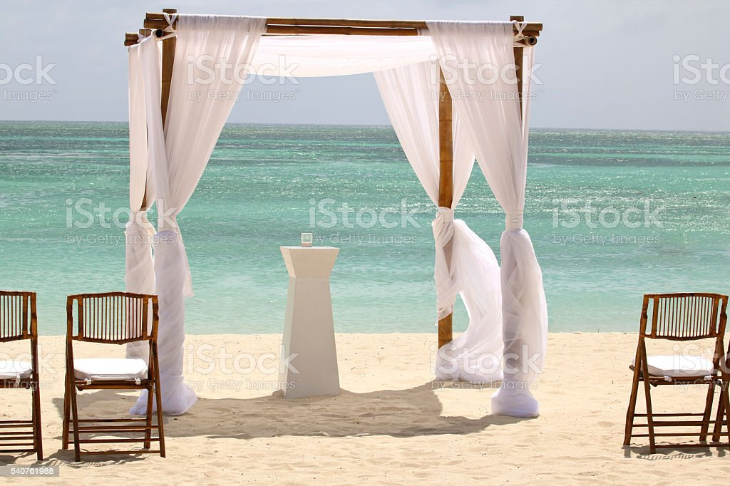 Beach Wedding Chapel directly on the sand, Caribbean background stock photo