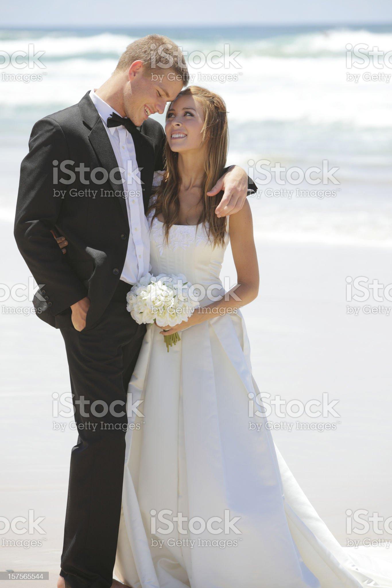 Beach Wedding Couple royalty-free stock photo