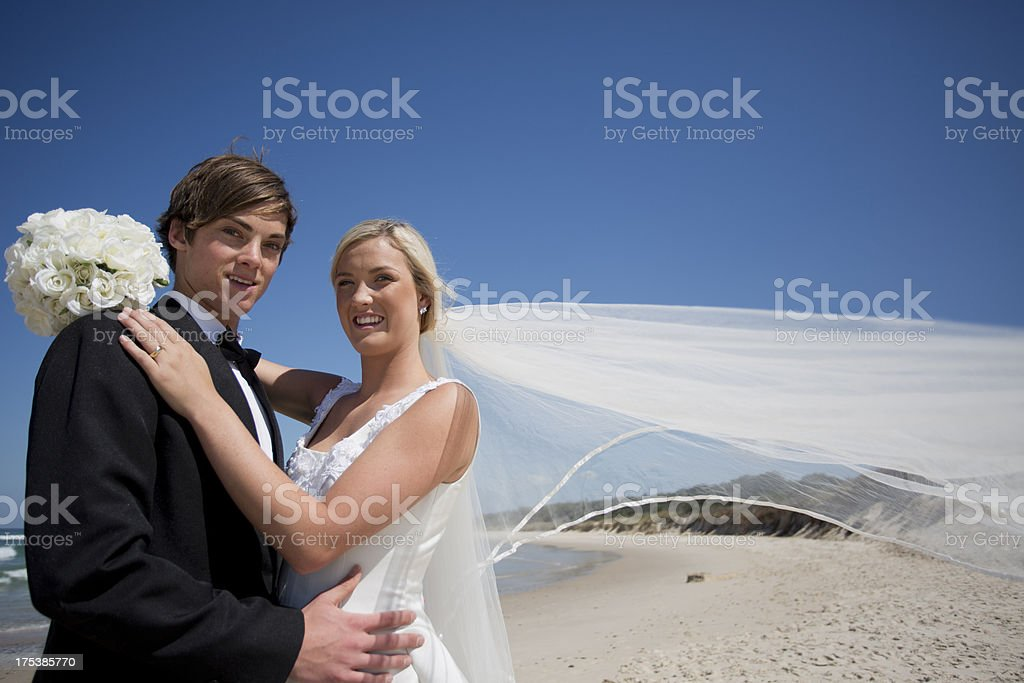 Beach Wedding Couple royalty-free stock photo
