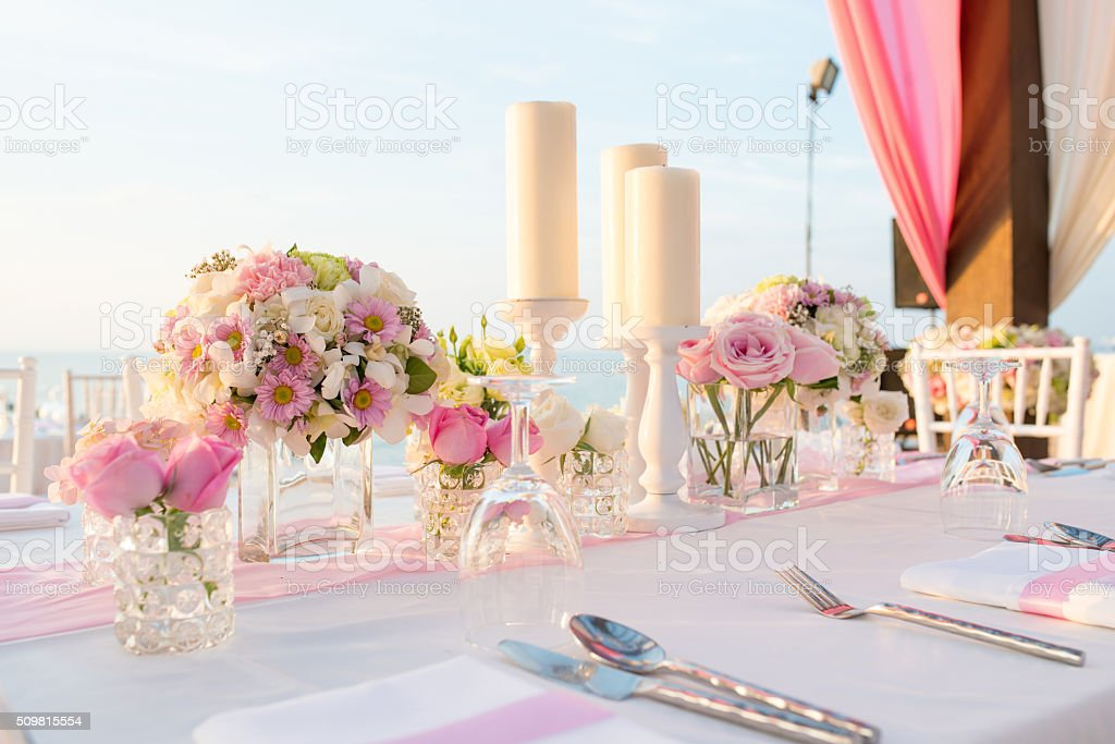 Beach Wedding Setup stock photo