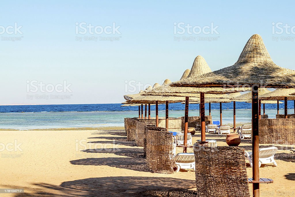 Beach winter Egypt stock photo