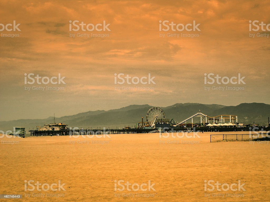 beach with Amusement Park in Venice royalty-free stock photo
