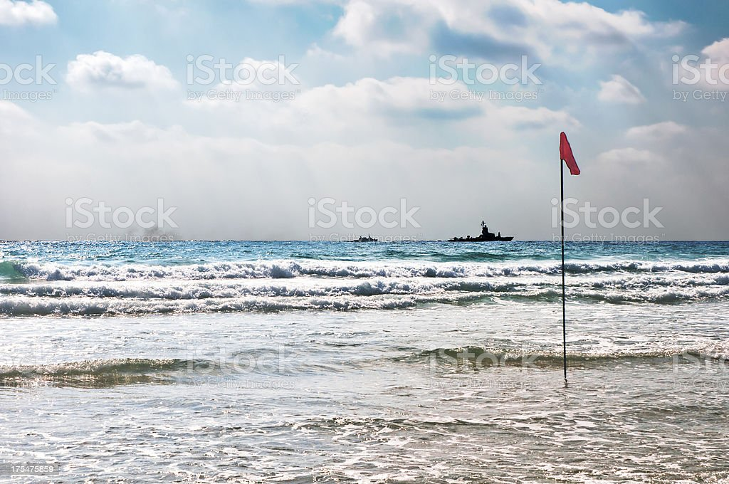 Beach with Battle Ships stock photo