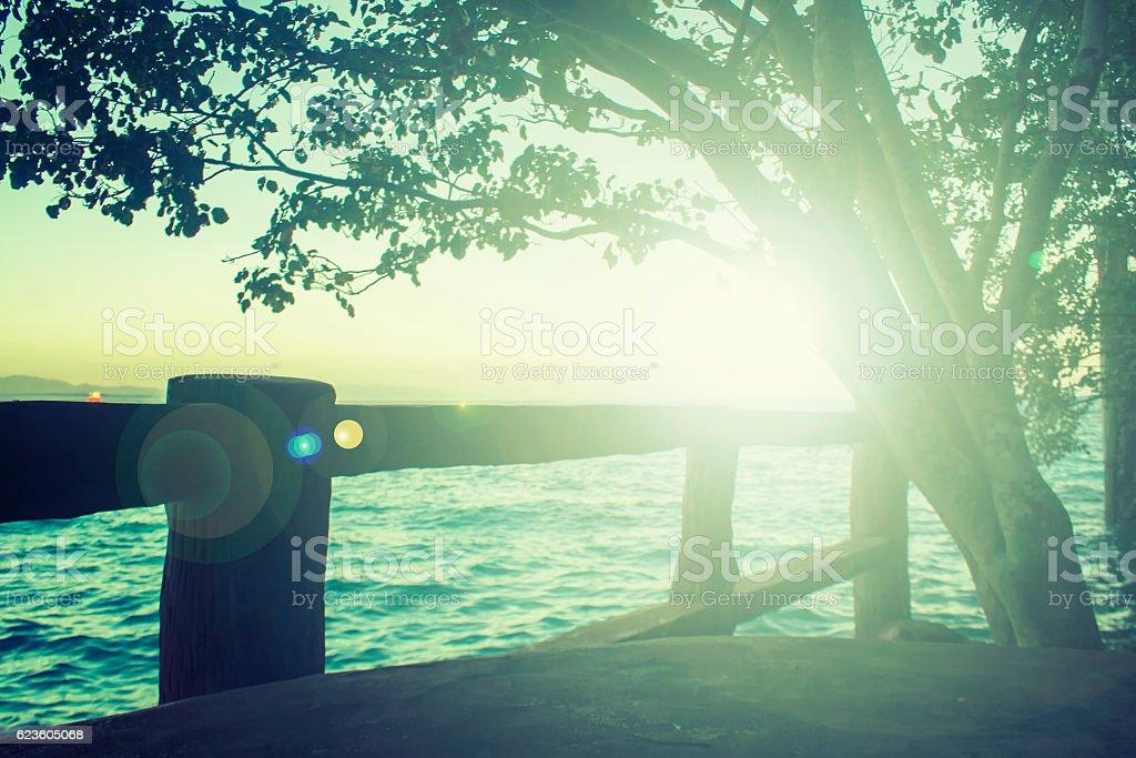 Beach with beautiful sunrise stock photo