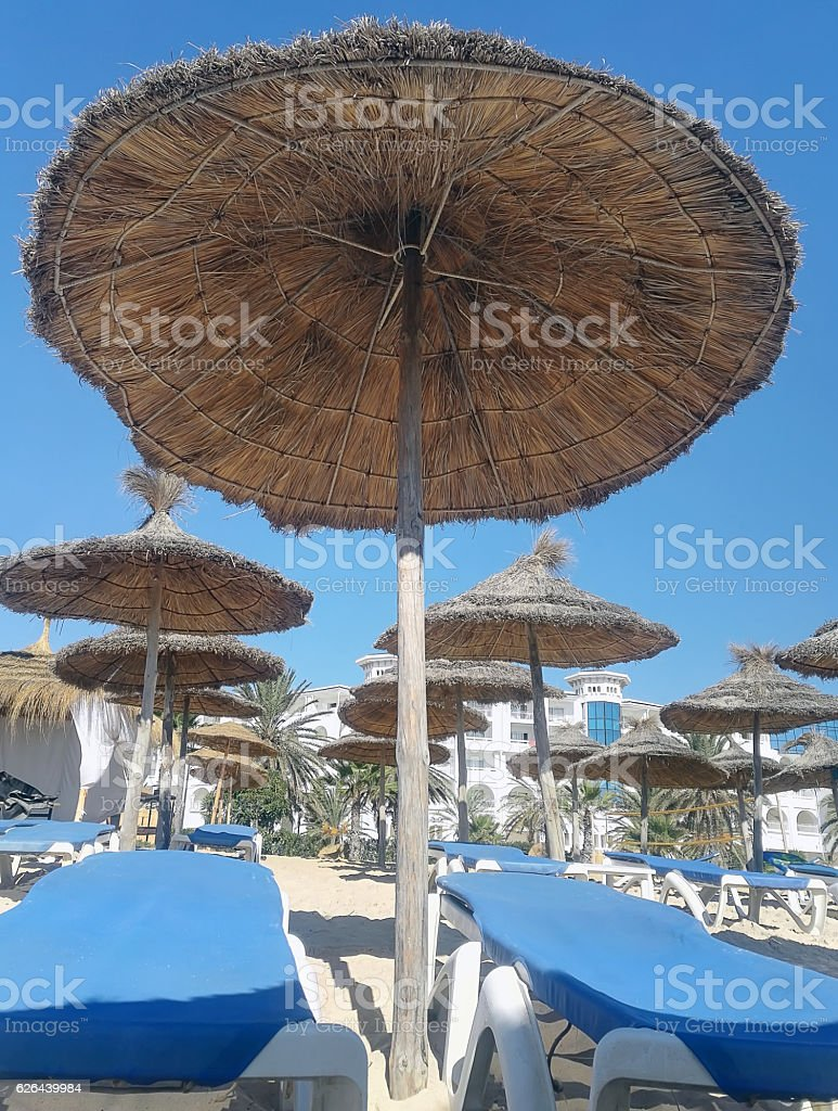 beach with blue sun beds and parasols stock photo