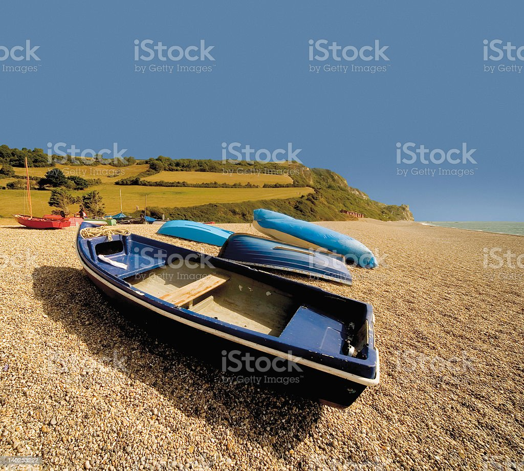 beach with boats royalty-free stock photo