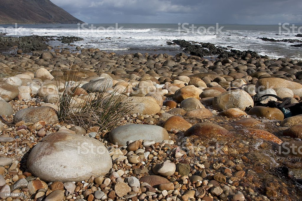 Beach with boulders at Kogel Bay Western Cape South Africa stock photo
