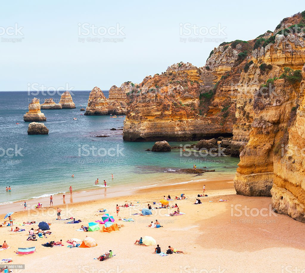 Beach with cliffs stock photo