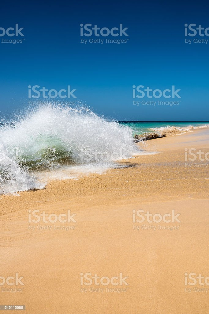 Beach with crystal clear water in Sal, Cape Verde stock photo