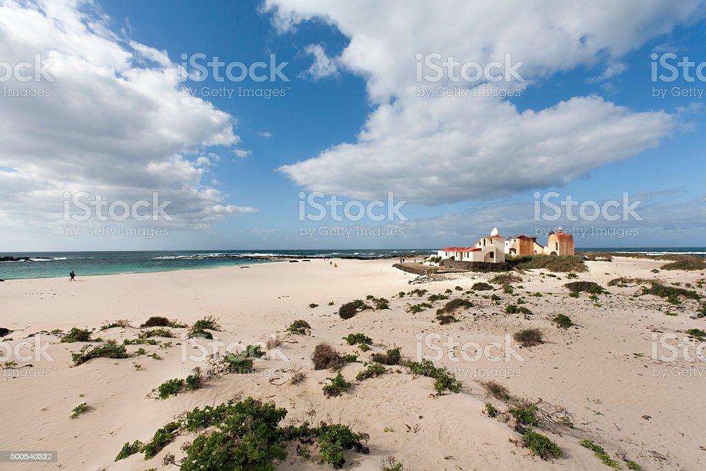 Beach with idyllic houses stock photo