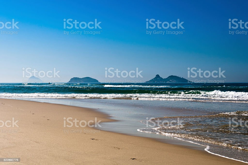 Beach with Islands in the Horizon stock photo
