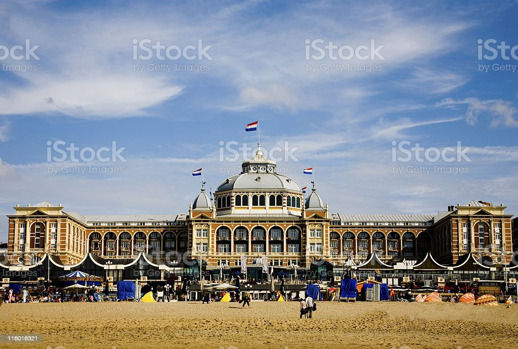 Beach with kurhaus stock photo