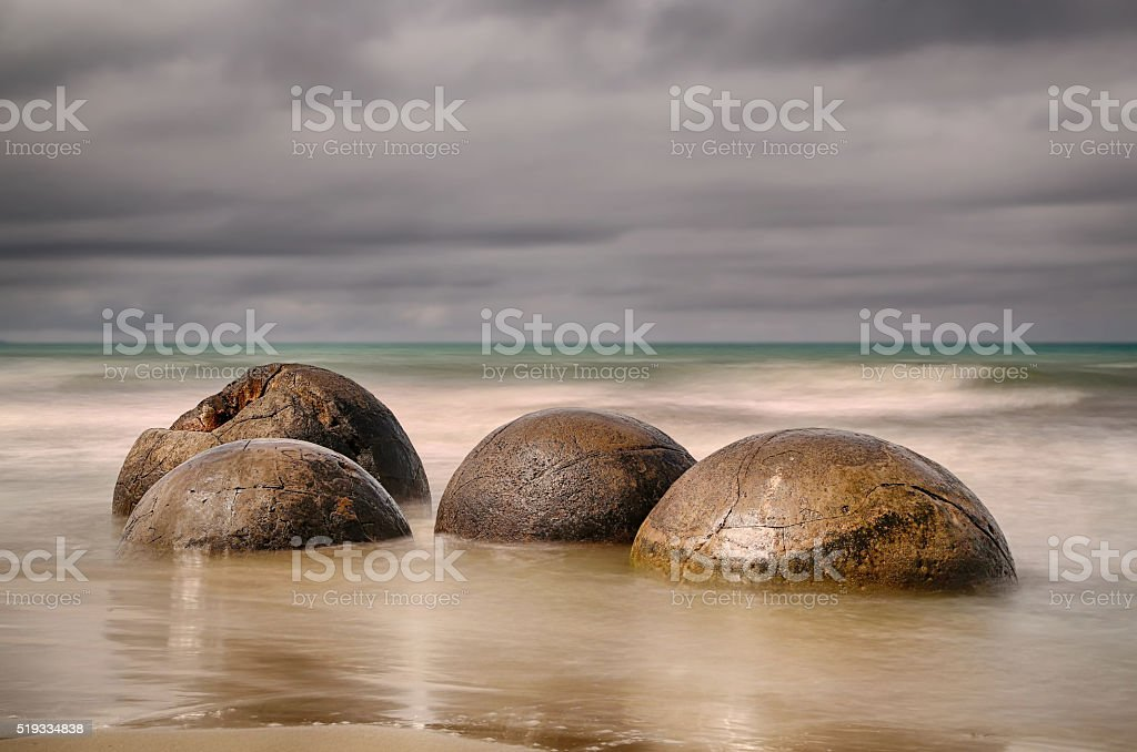 Beach with Moeraki Boulders - New Zealand stock photo