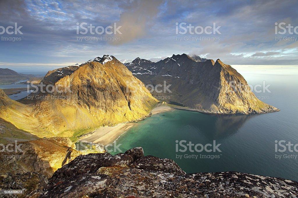 Beach with mountain in Norway, Kvalvika - Lofoten stock photo